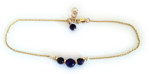 Gold and Amethyst Gemstone Anklet with Amethyst Dangle