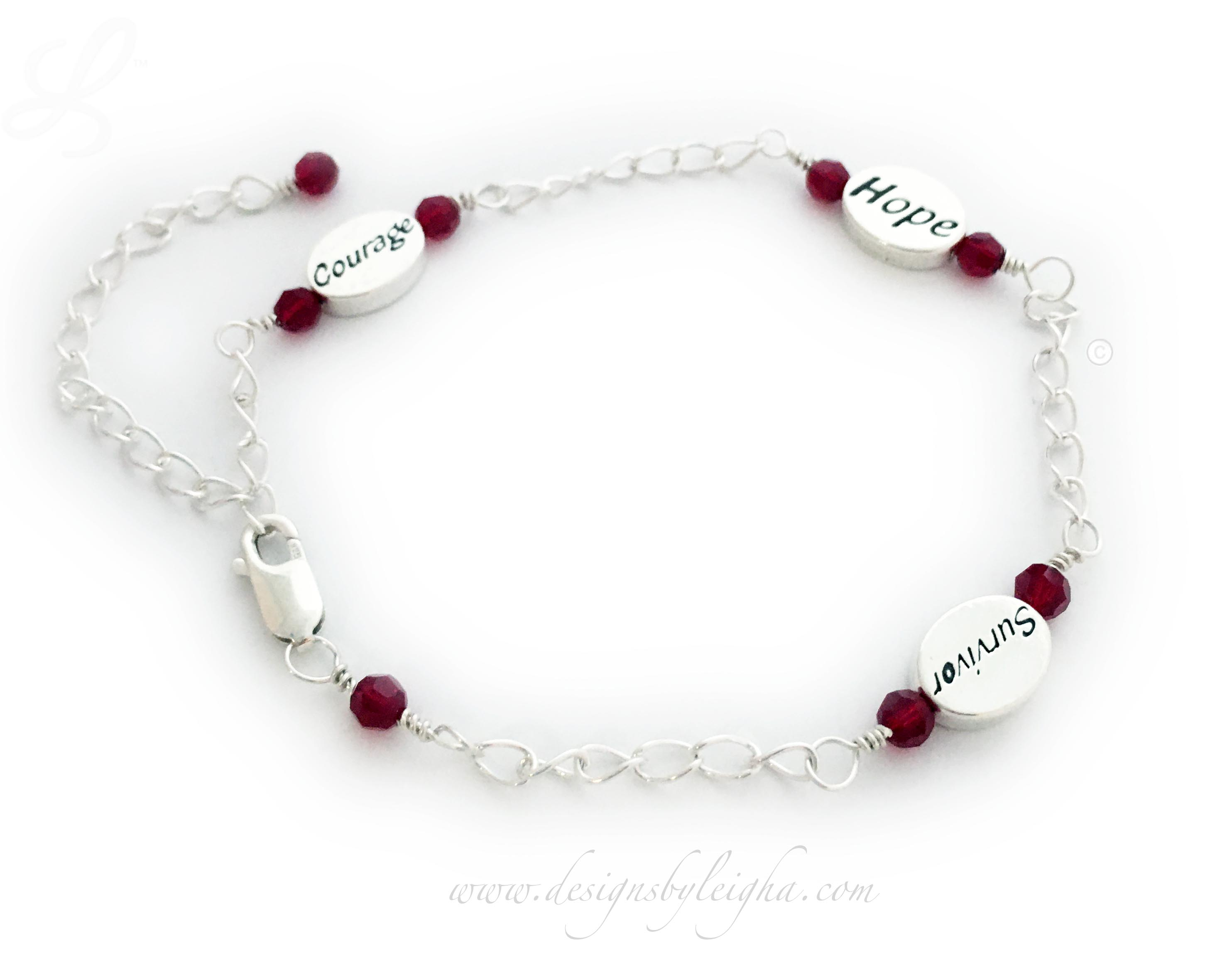 Red Ribbon Anklet shown with 3 message beads: Courage, Hope and Survivor