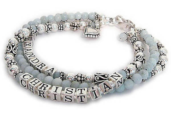 Aquarmarine Mothers Bracelet with March Birthstones and 2 kids' names - Christian and Alexandra