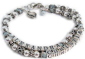Aquamarine Gemstone Mothers Bracelet