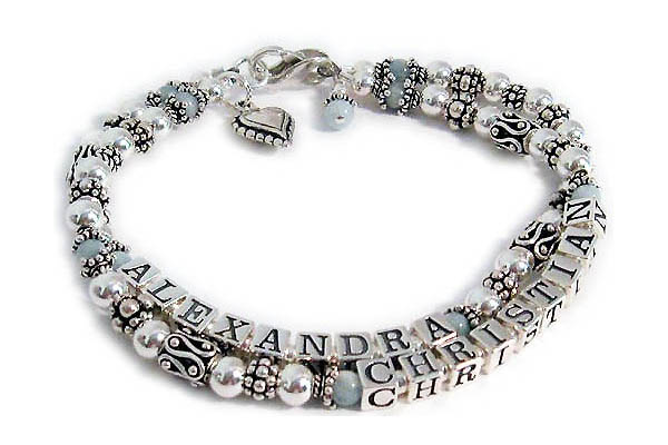 Aquamarine Gemstone Mothers Bracelet with Alexandra and Christian and a Beaded Heart Charm