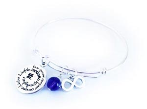 Gemstone & Charm Bangle Bracelet #5	  Shown with free sem-preicous gemstone and they added 2 additional charms: Infinity and Saying Charm
