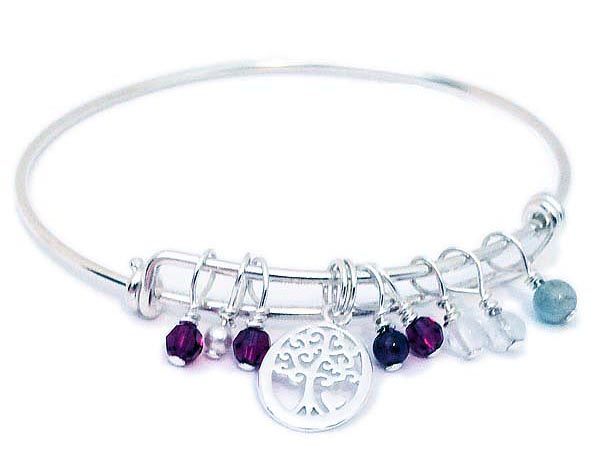 Tree of Life Charm Birthstone Bangle Bracelet - Sterling Silver