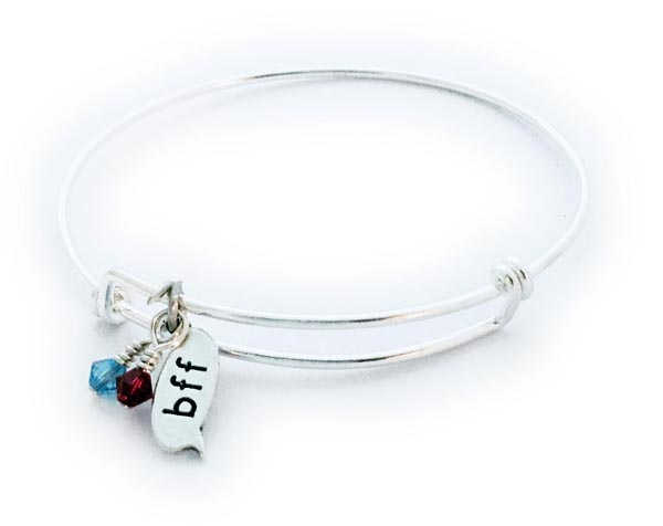DBL-BFF Bangle Bracelet with March and July Birthstone Charms