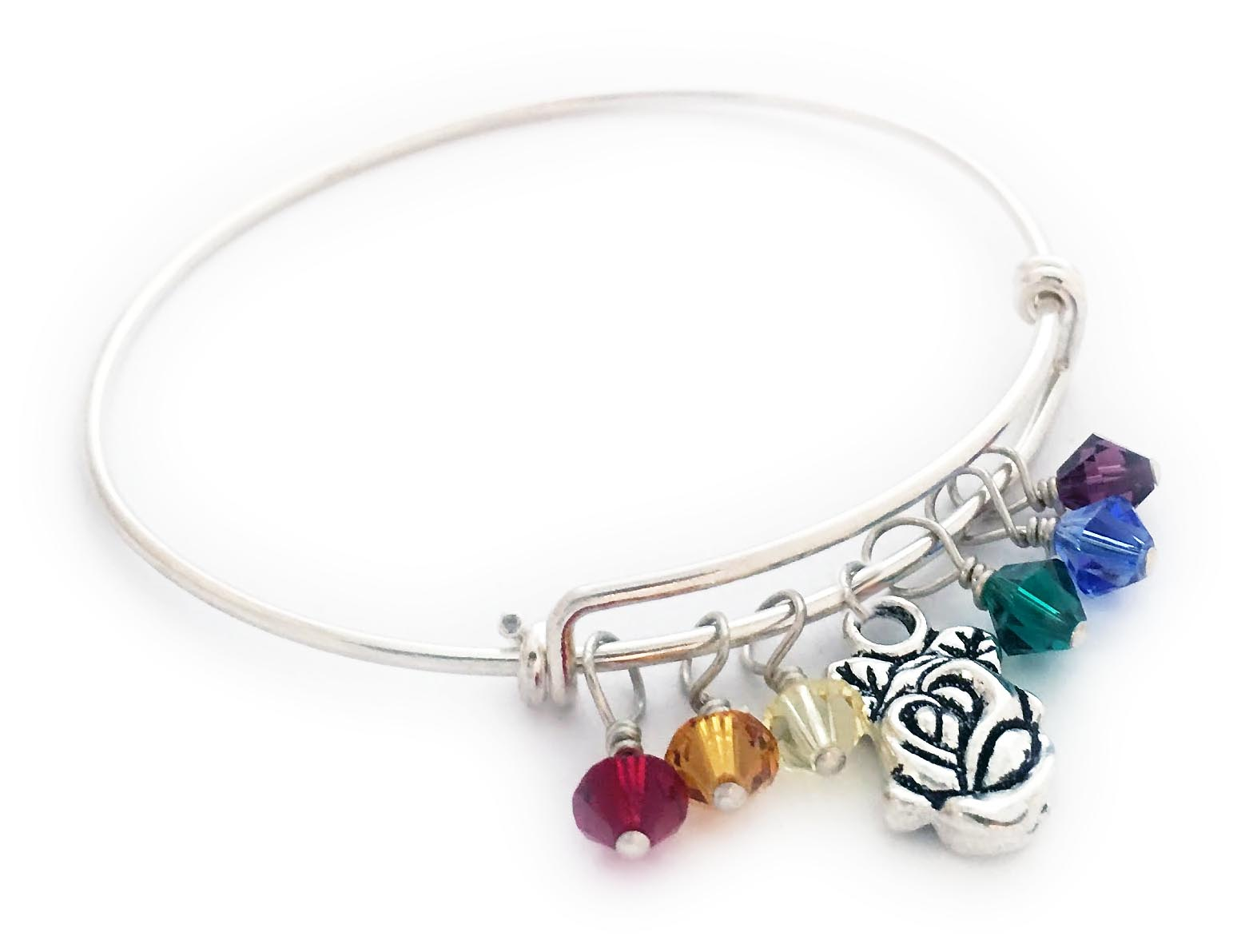 Rose Bangle Bracelet with Birthstones  Shown with a free Rose charm and 1 free Crystal Birthstone and 5 add-on Crystal Birthstones
