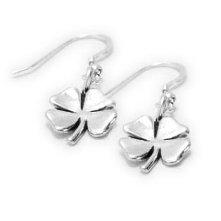 Shamrock Earrings - 4 Leaf Clover Earrings - Sterling Silver