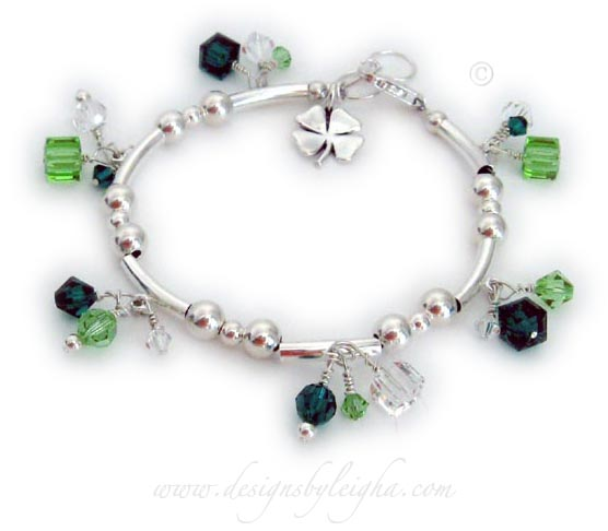 Shamrock Bracelet with Shamrock charm and green crystals - Irish Charm Bracelet with 4 leaf clover charm