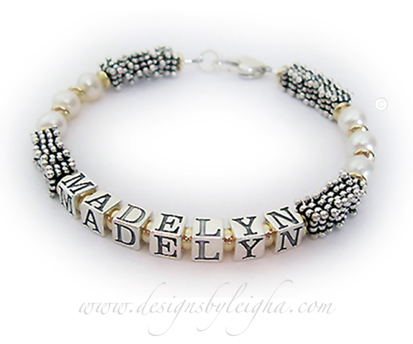 Gold Pearl Bali Pearl Name Bracelet - DBL-PS4 with Madelyn
