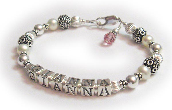 Pearl Mom Bracelet With October Birthstone Crystals Gianna