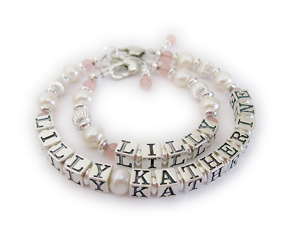 Lilly Katherine Mother and Baby Bracelet with Pearls and Pink Semi Precious Gemstones.