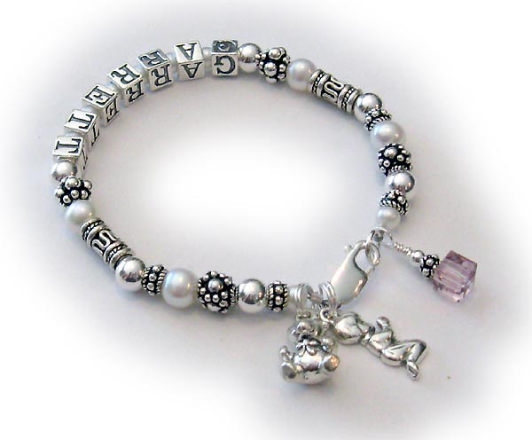Pearl Name Bracelet with Birthstone Crystals
