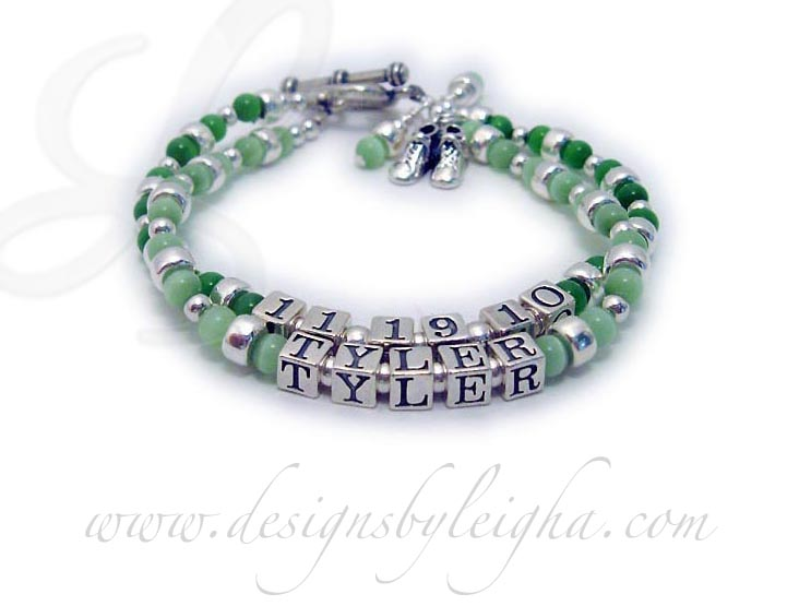 Irish Name Bracelet -  Irish Mom Bracelet with adopted son's name and adoption date with a baby boy bootie charm