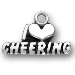 Sterling Silver I Love Cheering Charm