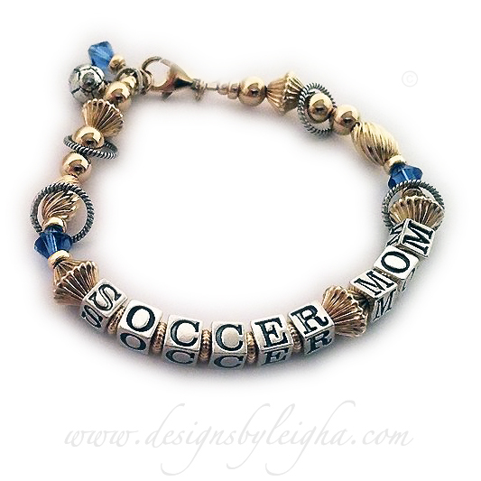 This Soccer Mom Bracelet is shown with an add-on Birthstone Crystal Dangle - Sapphire/September