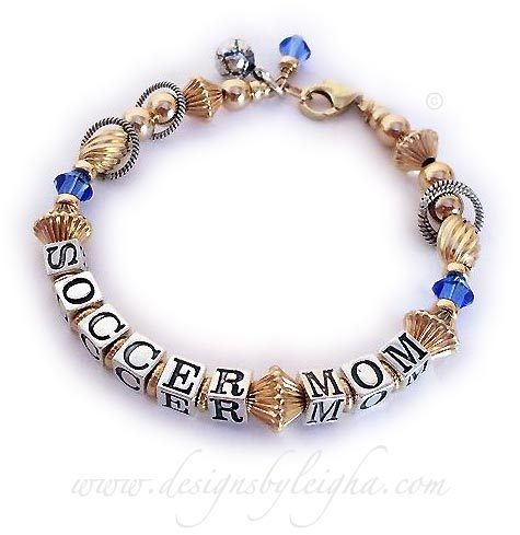 soccer mom bracelet with a soccer ball charm