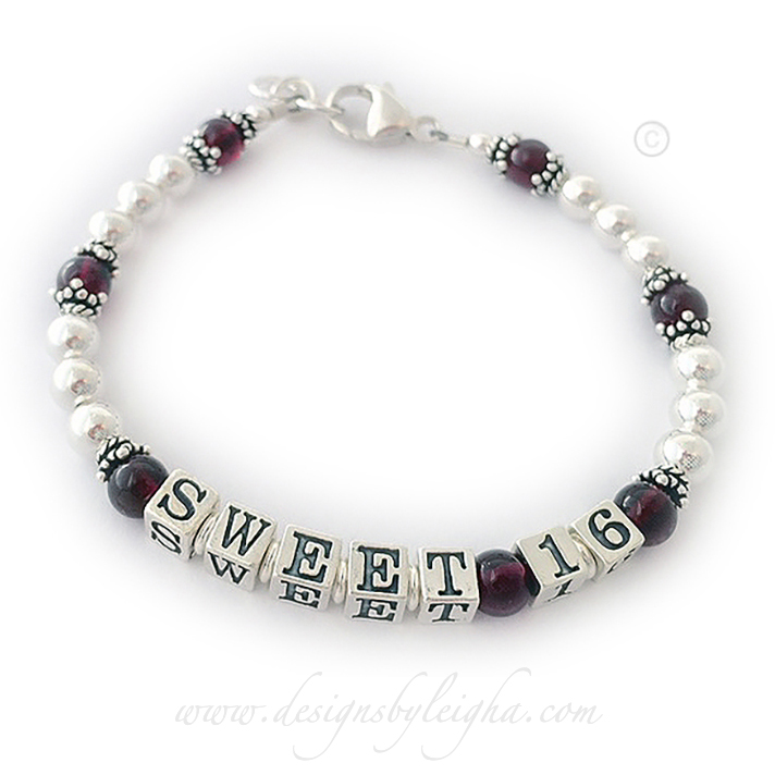 Sweet 16 real gemstone bracelet - Garnets shown