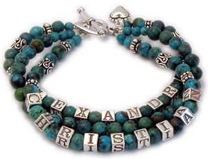 Decorative Turquoise Bracelet with Real Turquoise Beaded Mother Bracelets