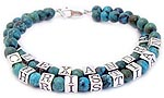Turquoise beaded name bracelet with 1 name