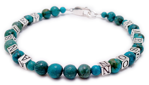 Simple 1-string Turquoise Name Bracelet with 2 names - ANSLEY and KARSON - DBL-Turq1-1string