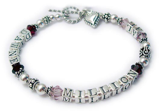 Alzheimers Bracelet with a Heart Charm