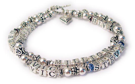 "DBL- Specialty Bracelet - Alzheimer Bracelet 1-2string (with 4mm crystals) This bracelet is an 8 1/2"" TWO string bracelet shown with an add-on Beaded Heart Charm.   NOTE: There is limited space in the order area please use this format: 1- BECKY/Jun MILLION AL/apr 2-DAWN/jan, VIC/apr, STEVE/sep, Kath/jan"