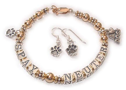Gold Animal Rescue Bracelet (TM) - Spay & Neuter Bracelet for Dog Lovers