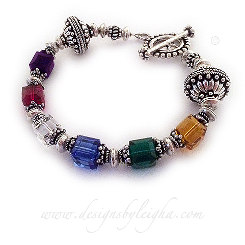 Bright and Colorful  Bali Birthstone Bracelet