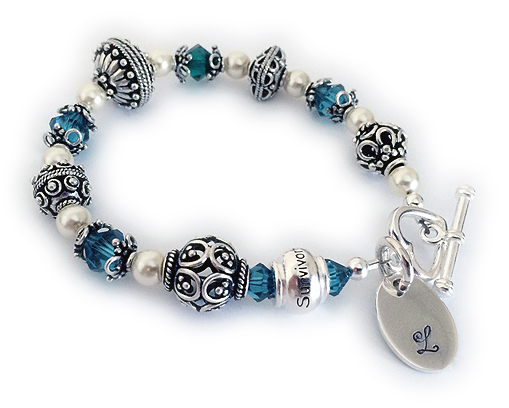 Pearl and Bali Birthstone Bracelet with a Monogram Charm
