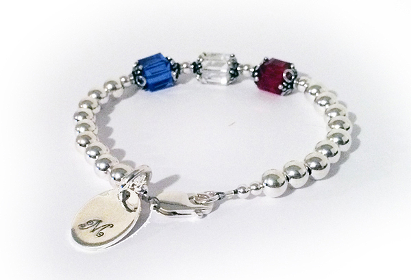 Large Birthstone Bracelet with a Monogram Charm