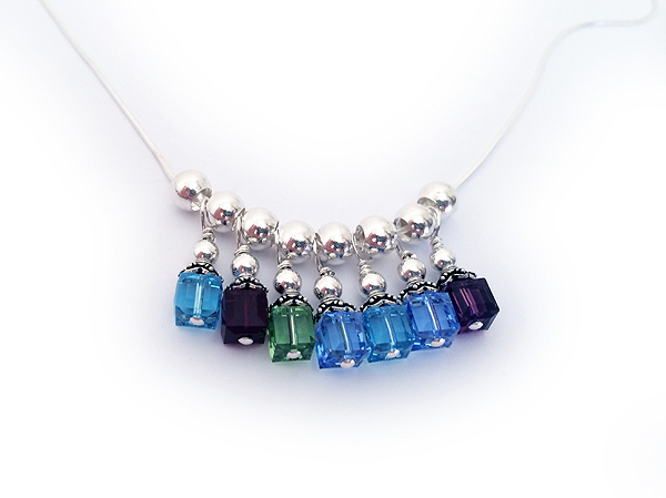 7 Birthstones On A Charm Necklace March February August December