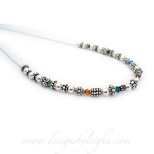 Birthstone Bali Necklace with Birthstone Crystals