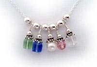 Birthstone Charm Necklace with 5 birthstone charms