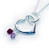 Birthstone Charm Heart Necklace