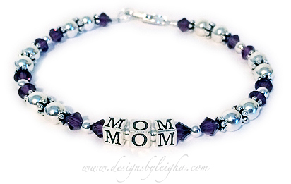 MOM/PurpleShown MOM and Purple or February Birthstone Crystals and with a lobster claw clasp.