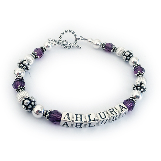 DBL-C5-1 String Bracelet Enter: AHLURA/Purple  Shown with a toggle clasp.
