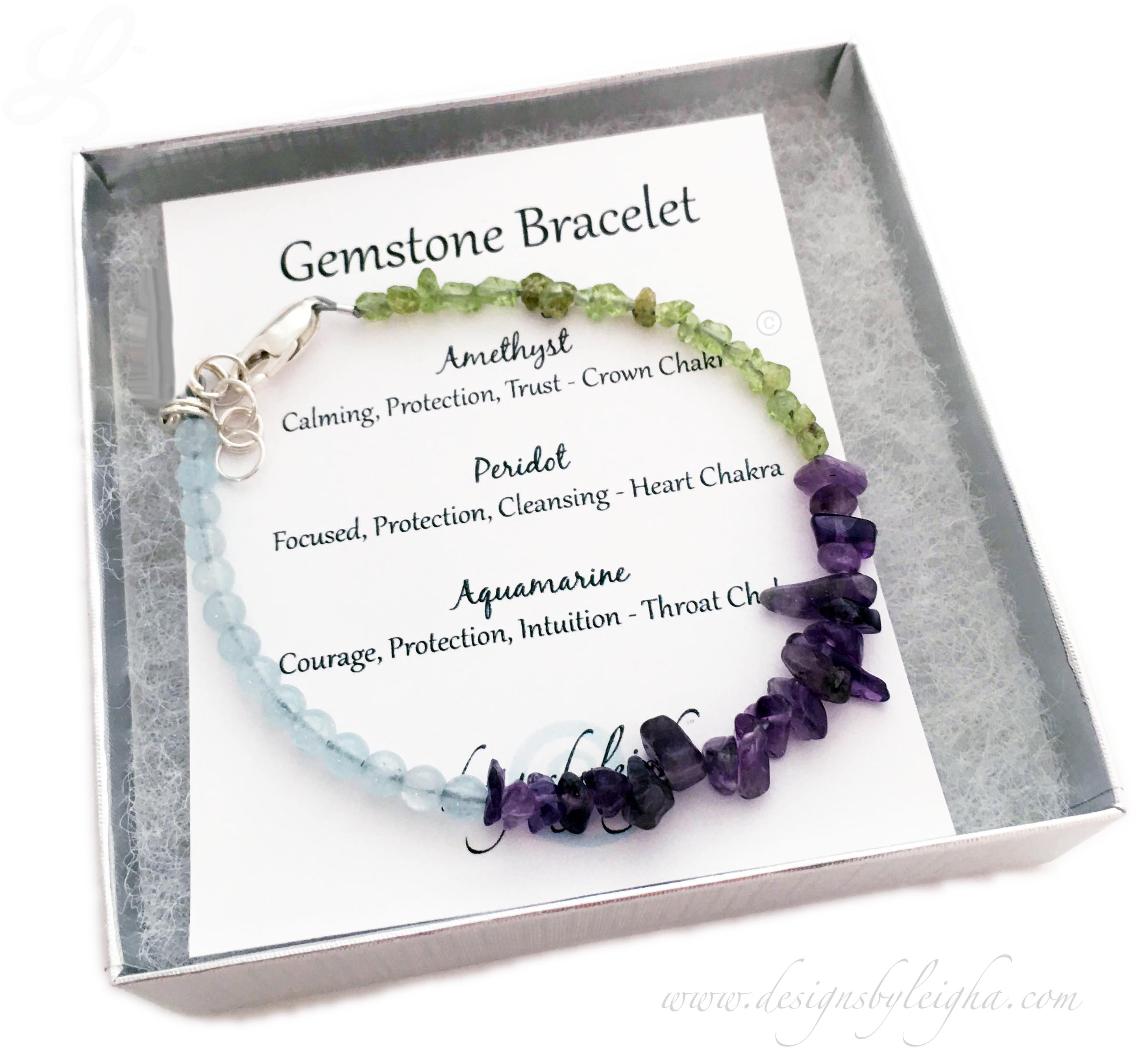 DBL-BB-19  This Electic Birthstone Bracelet comes with a card that talks about each of the gemstones. This Amethyst, Aquamarine and Peridot bracelet is shown with a Lobster Claw Clasp with an Extension.