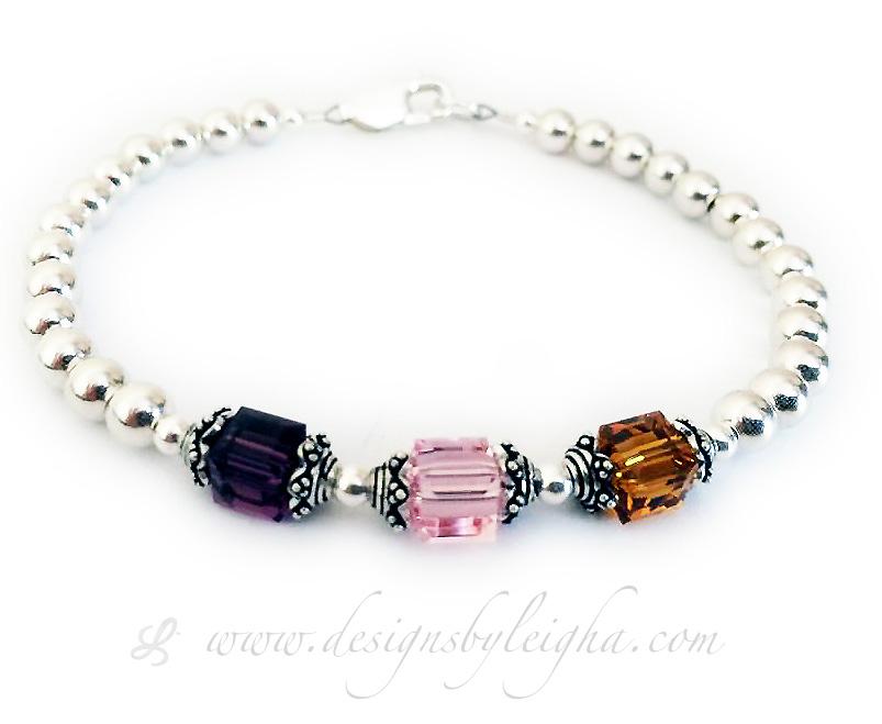 GiftJewelryShop American Flag Printed On Apple Purple Amethyst Crystal February Birthstone Flower Dangle Charm Bracelets