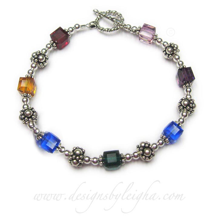 Swarovski Crystal Birthstone Bracelet with 7 birthstones - DBL-BB-10