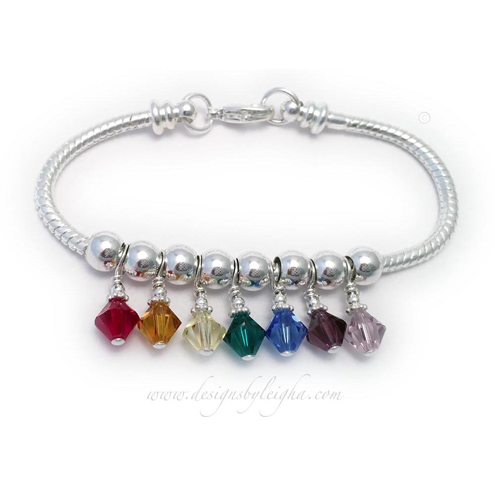 This is a Birthstone Bracelet for Mom or Grandma. You choose the number of Birthstone Crystals. I have 3 sizes and 3 shapes of Swarovski Crystals in all birthstone colors, if you would like to customize this design.