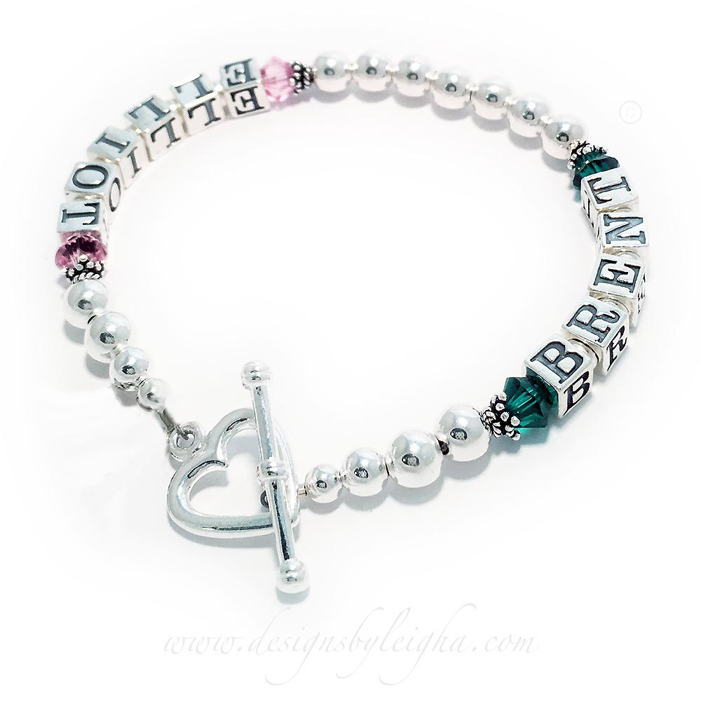 DBL-SS1-1	String Birthstone Bracelet with 2 Names an a Heart Toggle Clasp.  Enter: Elliot/Oct Brent/May