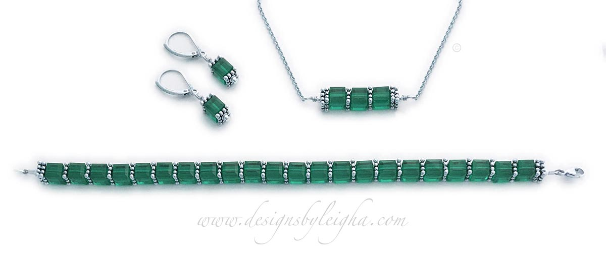 DBL-BB-14  May or Emerald Birthstone Jewelry Set shown with Emerald or May Birthstone Swarovski Crystals. Emerald Earrings, Emerald Bracelet and Emerald Necklace is shown.