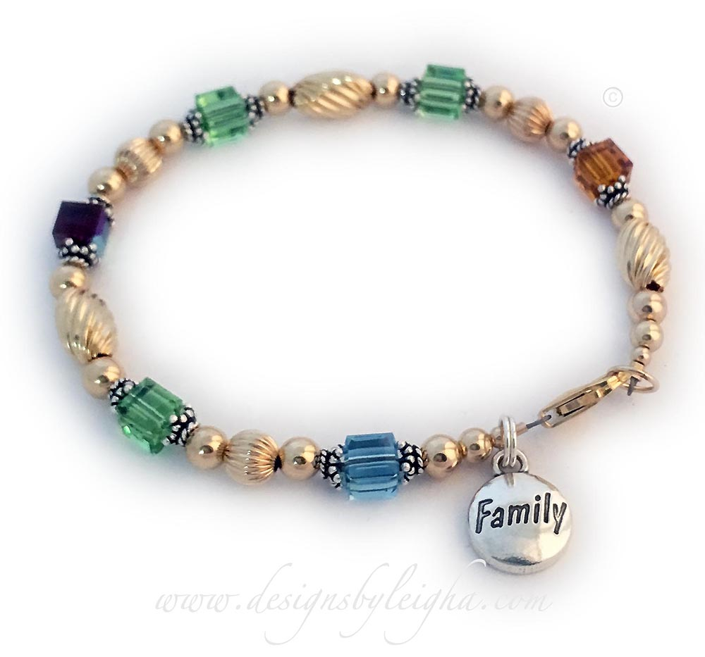 Gold Swirly Family Birthstone Bracelet with a Family Charm - 6 birthstones shown.