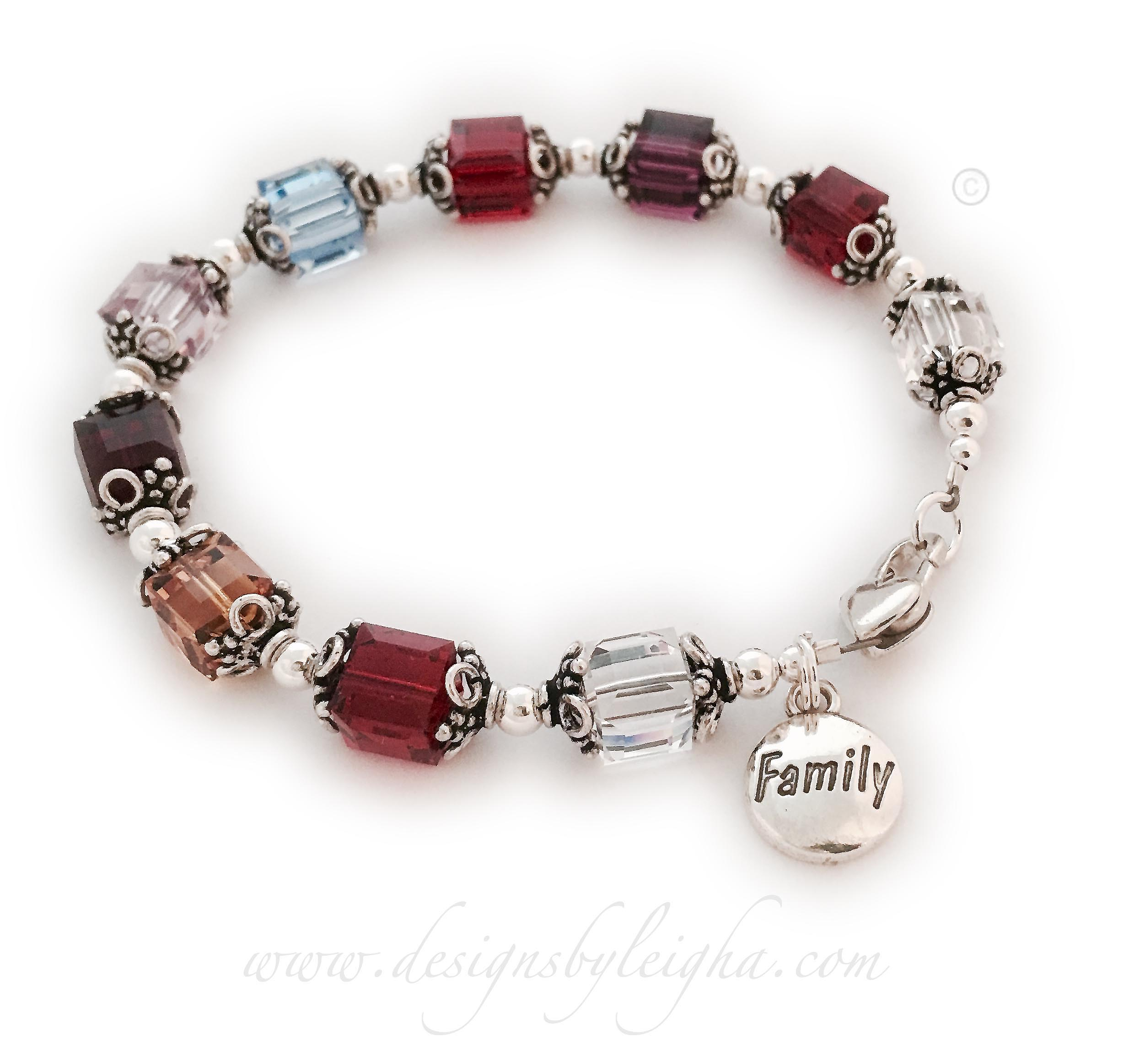 This is a 1-string Crystal Birthstone Bracelet is shown with 10 birthstones and they added a FAMILY Charm. Birthstones shown: April (Diamond), July (Ruby), November (Golden Topaz), January (Garnet), June (Light Purple), March (Aquamarine), July (Ruby), February (Amethyst), July (Ruby), April (Diamond)