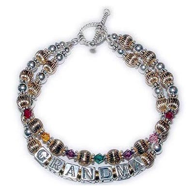 Item: DBL-BB-G4-2 string bracelet I can also add a second string with GRANDMA or AUNT or MOMMY on it.  Enter: 1/GRANDMA 2/Jul Nov Feb May Feb Oct Jul