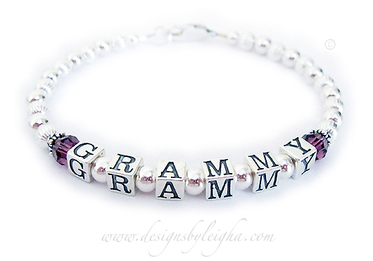 Grammy 1-string February Birthstone Bracelet - DBL-SS1-1string