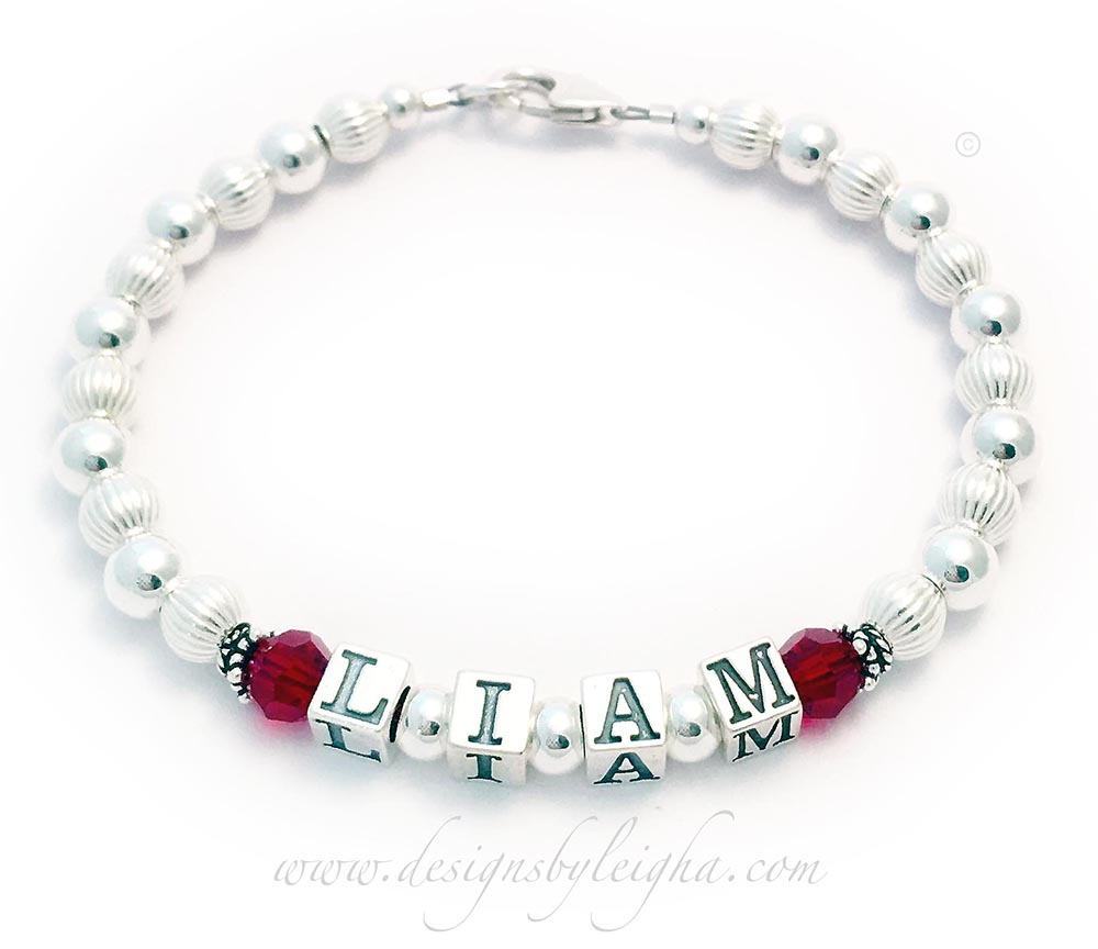 This is a 1-string DBL-SS1 1-String Bracelet for Mommy with Liam shown with July or Ruby Birthstone Crystals. They picked a beautiful free simple lobster claw clasp.