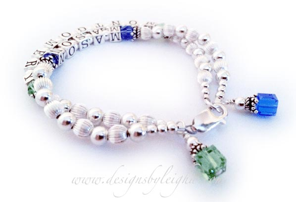 Mason (September) and Montgomery (August) Birthstone Mothers Bracelet with a (free) Lobster Claw Clasp and they added 2 Birthstone Crystal Dangles to their order. They special requested square instead of round Birthstone Crystal Dangles.