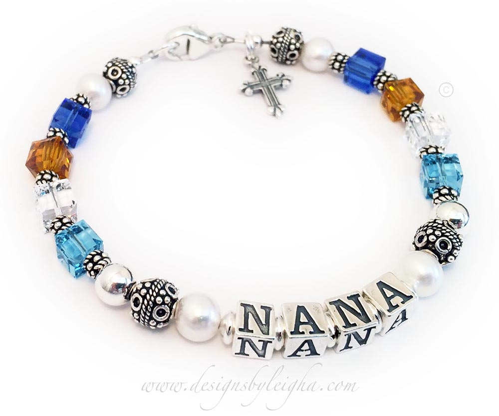 Order: Sep Nov Apr Mar NANA Mar Apr Nov Sep This is a NANA Birthstone Bracelet with 8/4 birthstone crystals. This picked a lobster claw clasp and added a Fancy Cross Charm.