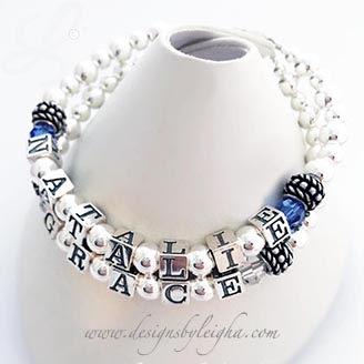 DBL-SS2-2	String Bracelet Natalie has September or Sapphire birthstones and Grace has April or Clear Birthstones. This is a 2-string bracelet.