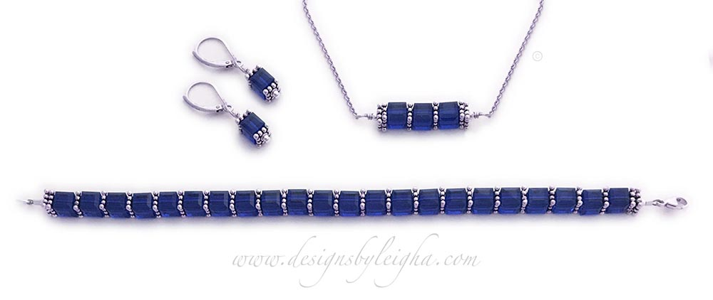 DBL-BB-14  September or Sapphire Birthstone Jewelry Set shown with Sapphire or September Birthstone Swarovski Crystals. Sapphire Earrings, Sapphire Bracelet and Sapphire Necklace is shown.